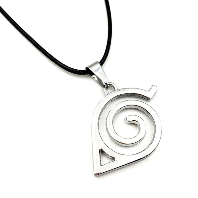Wholesale 10pcs/lot Anime Jewelry Naruto Konoha Logo Pendant Necklace With Rope Chain For Men Gifts