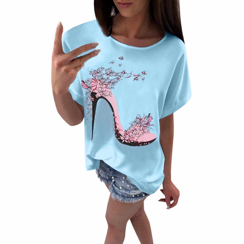 T-shirt Vrouwen Casual Daily Hoge Hakken Gedrukt Modis Tops Zomer Strand Losse Top Korte Mouwen Tee Shirt Femme Poleras mujer # Sw