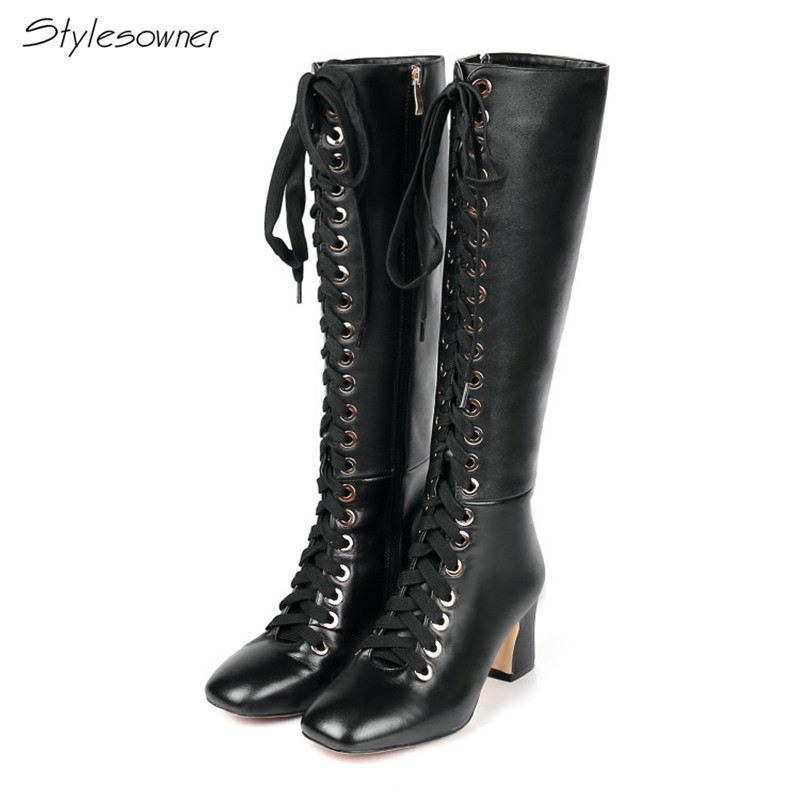 Stylesowner New Arrived Lace Up Long Boots Real Leather High Heels Knee High Winter Boots With Plush Inside Warm Cozy Boots