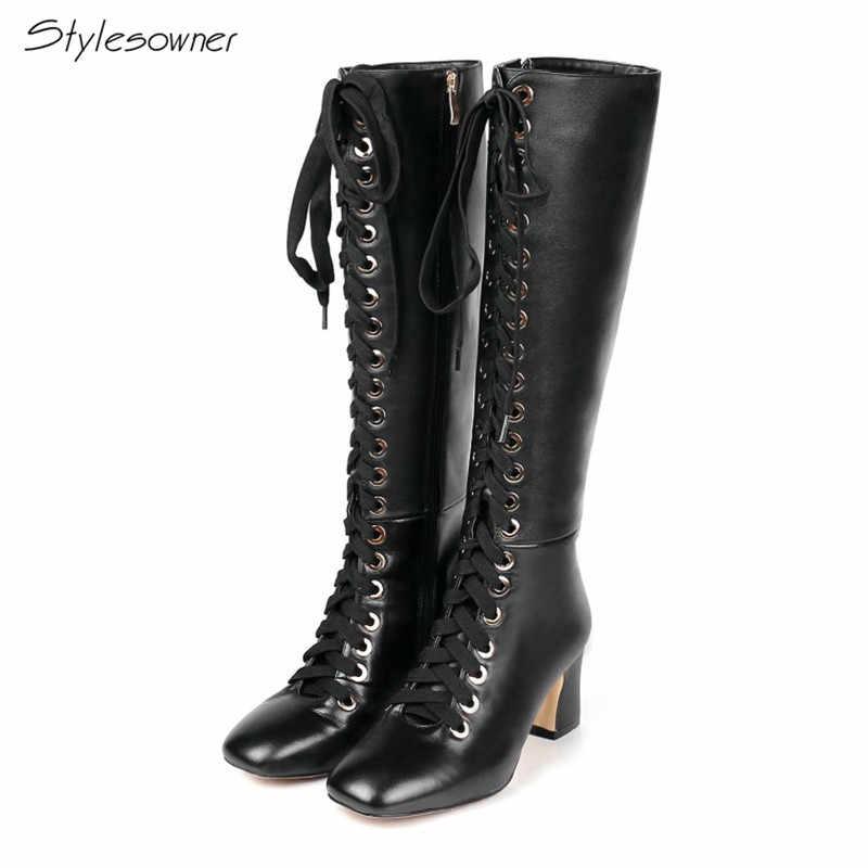 d669368c9 Stylesowner/Новое поступление, высокие сапоги на шнуровке из натуральной  кожи на высоком каблуке,