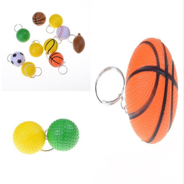1 pieza fútbol voleibol baloncesto tenis llavero colgante creativo juguete niños colección Modelo figura