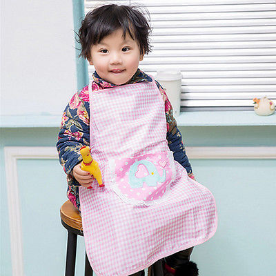 Children Plain Cooking Apron Kid Kitchen Cooking Baking Apron Kids Pink Dots Painting Bib