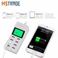 US EU UK Multi 8 Usb Ports Charger With Lcd Screen Dc Voltmeter Smart Wall Charger