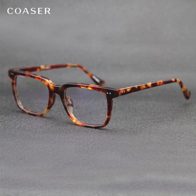Оправа для очков COASER, Винтажная Версия, для мужчин и женщин, для чтения, для компьютера, оптические очки по рецепту, прозрачные линзы, ретро очки