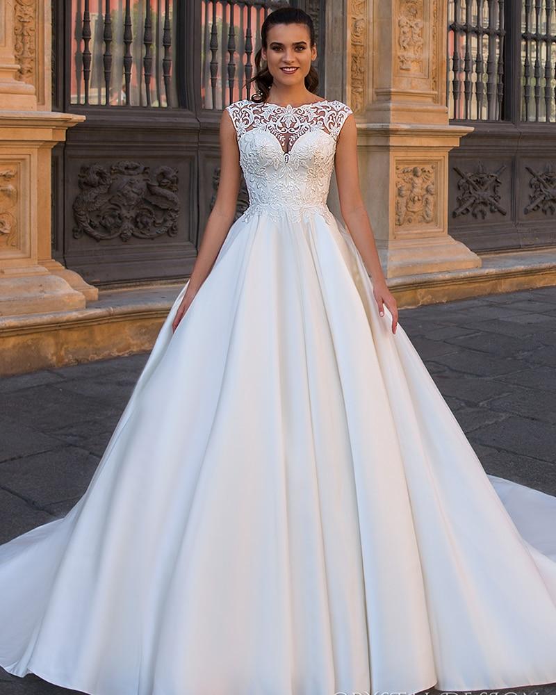Satin Wedding Dresses A Line 2019 Vestidos De Boda Button