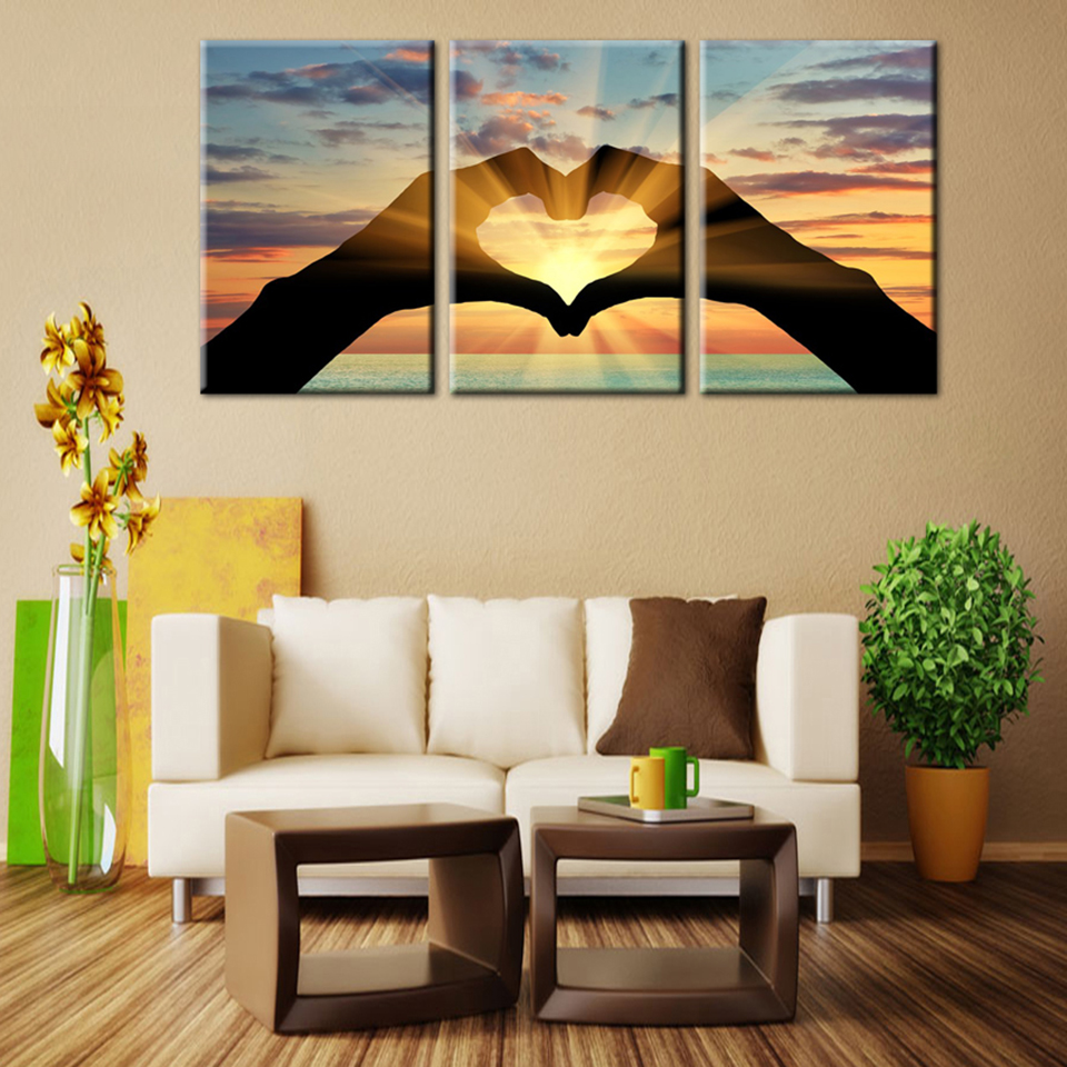 Modern printing type popular 3 panel ocean hearts canvas - What type of paint for living room walls ...