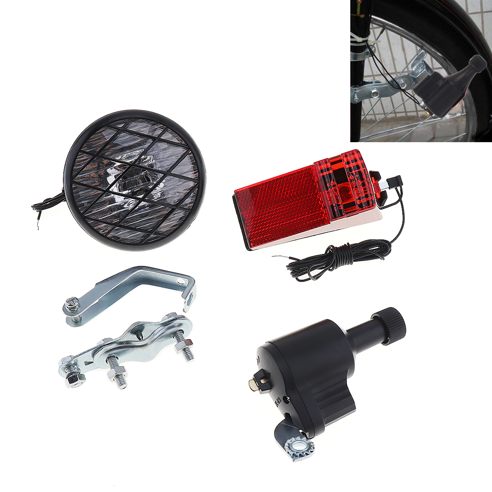 6V 3W Economic Bike Dynamo Light Classic Bicycle Generator HeadLight Rears Set
