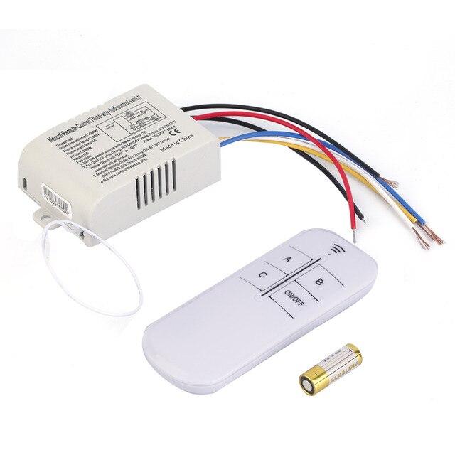 220V 3 Ways Switcher Splitter with Remote Control wall switch 3 Way ...