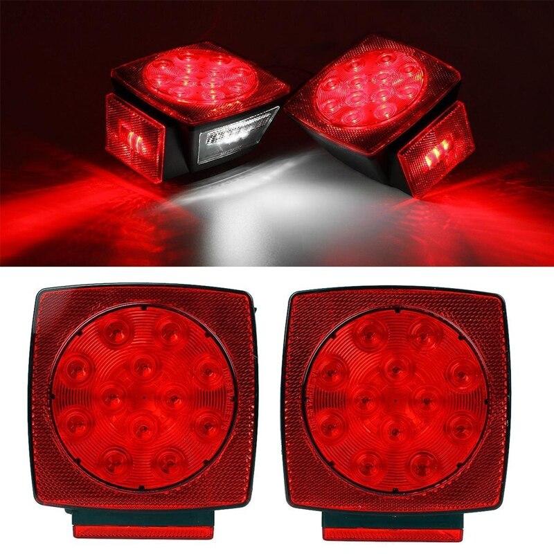 1 Pair 12V Square Red White LED Turn Brake Stop Trailer Truck Tail Light  kit for Camper RV Boat Snowmobile SUV ATV Accessories