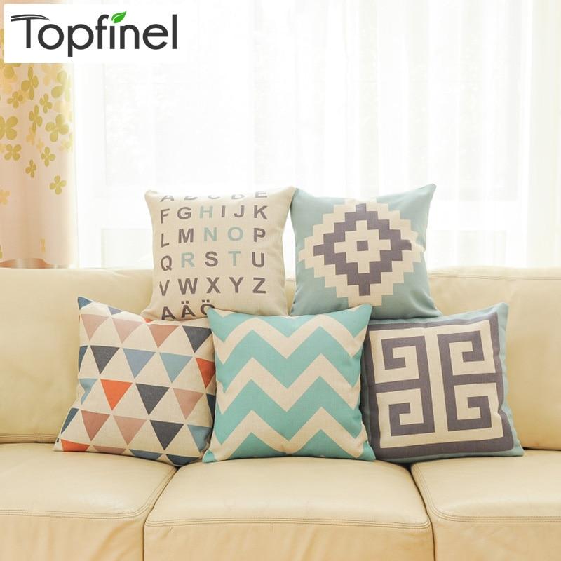 Top finel 2016 geometric decorative throw pillow case linen cotton cushion co - Coussin couleur prune ...