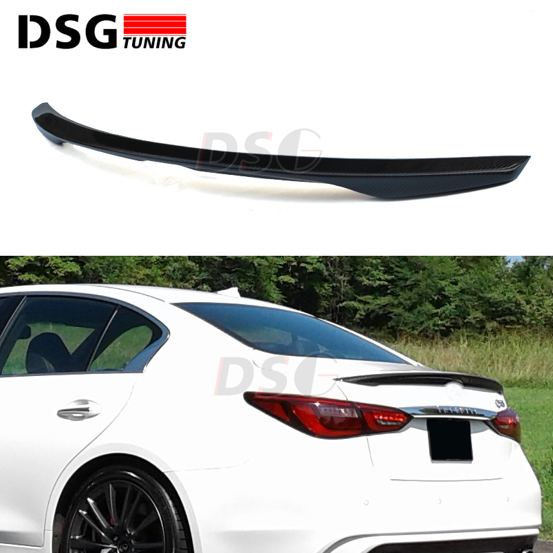 Carbon Fiber Rear Trunk Spoiler Wing For Infiniti Q50 4-door Sedan 2014 + Tail Lip Splitter for mercedes w213 spoiler e class 4 door sedan e200 e220 e250 e300 carbon fiber rear trunk spoiler wings e63 style 2016 up
