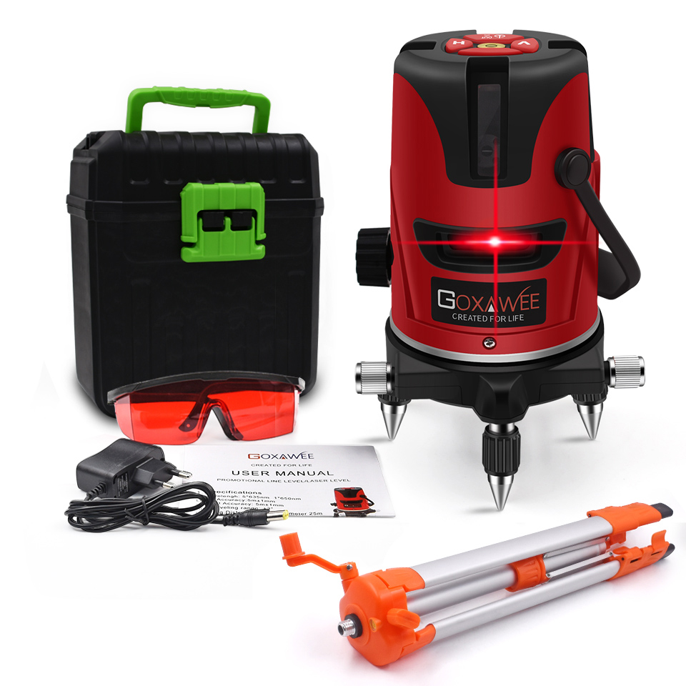 GOXAWEE Red Green laser level 360 Degree Cross Line Rotary Level Measuring Instruments 5 lines 6