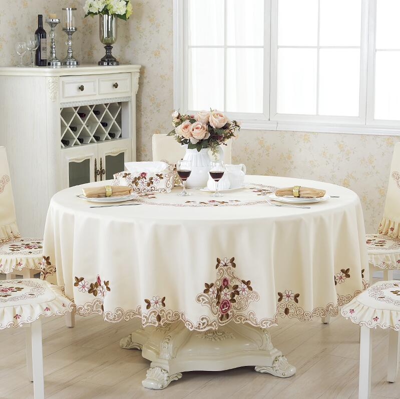 Fier Rose Élégante Table Ronde Tissu De Mode Broderie Tissu Art ...