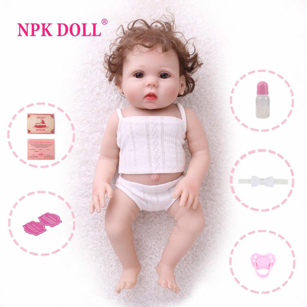 NPK poupée Reborn bébé 18 pouces plein vinyle réaliste jouets pour enfants faux bébé éducatif bain enfants Playmate bébé Boneca
