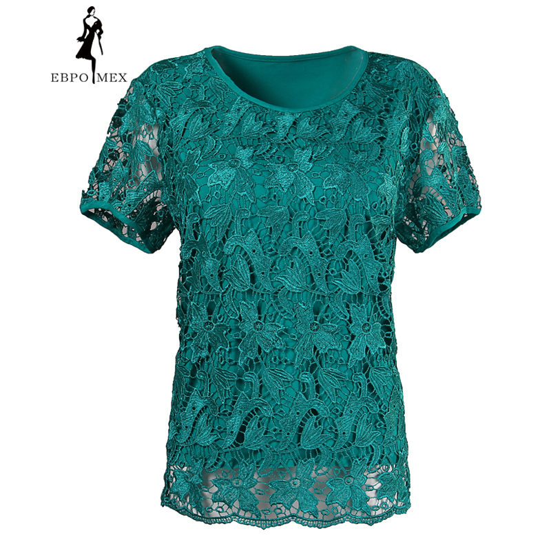 Encaje hembra de verano yardas grandes de manga corta estilo de la camiseta más fertilizante encabeza elástico algodón camiseta mujer