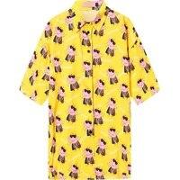 Women Harajuku Blouse 2019 Spring Summer Funny Cute Cartoon Pig Print Short Sleeve Plus Size Shirt for Girl Oversized Top Yellow