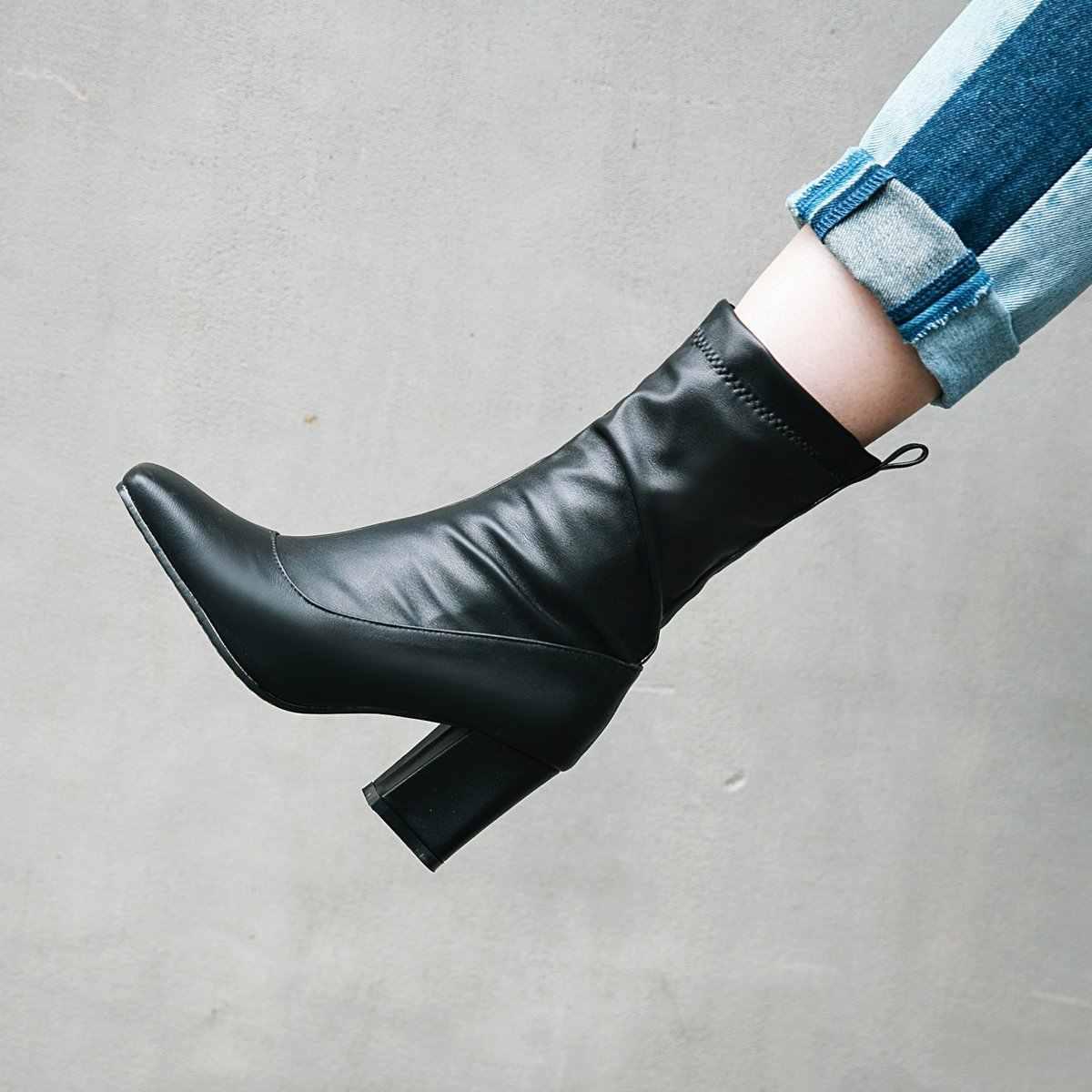 NEMAONE kadınlar yüksek topuklu elbise ayakkabı yarım çizmeler kare ayak bayanlar bahar sonbahar çizmeler büyük boy 42 43 siyah beyaz