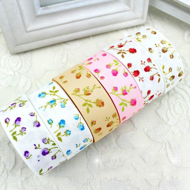 """25 מ""""מ פרח מודפס מבהיקי סרטי 2 מטרים\חבילה DIY בעבודת יד תינוקת בגימור כבנה Bowtie אביזרי אריזת מתנה קישוט"""