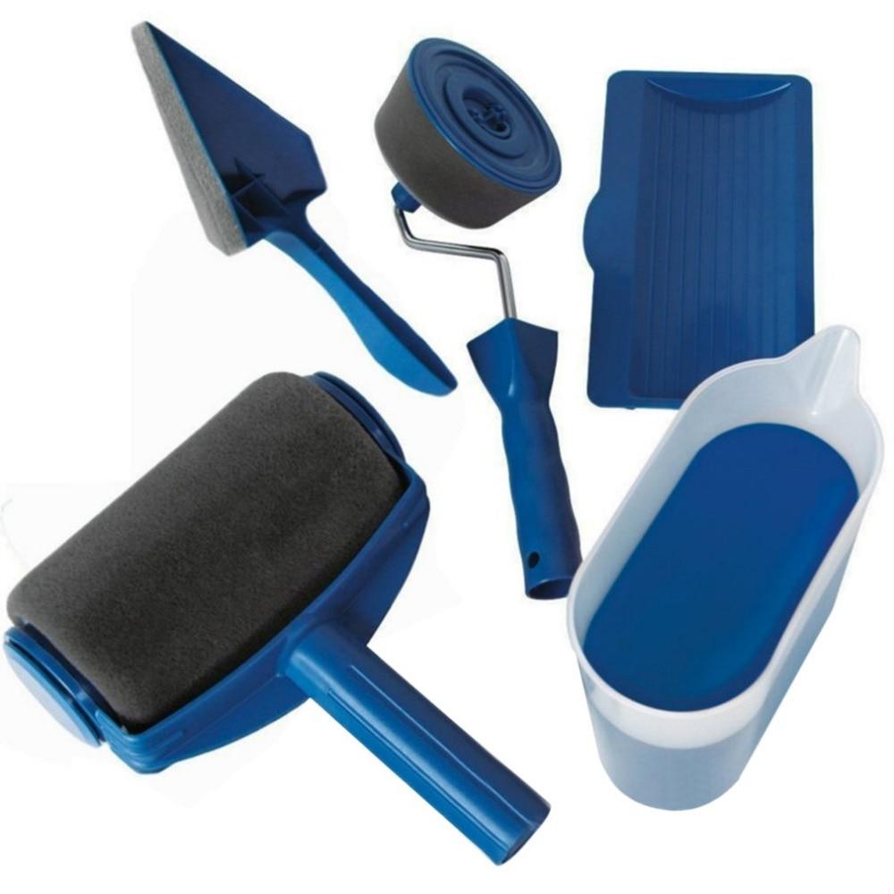 5PcsSet  Paint Runner Pro Roller Brush Handle Tool Flocked Edger Home Office Room Wall Runner Roller Paint Brush Set