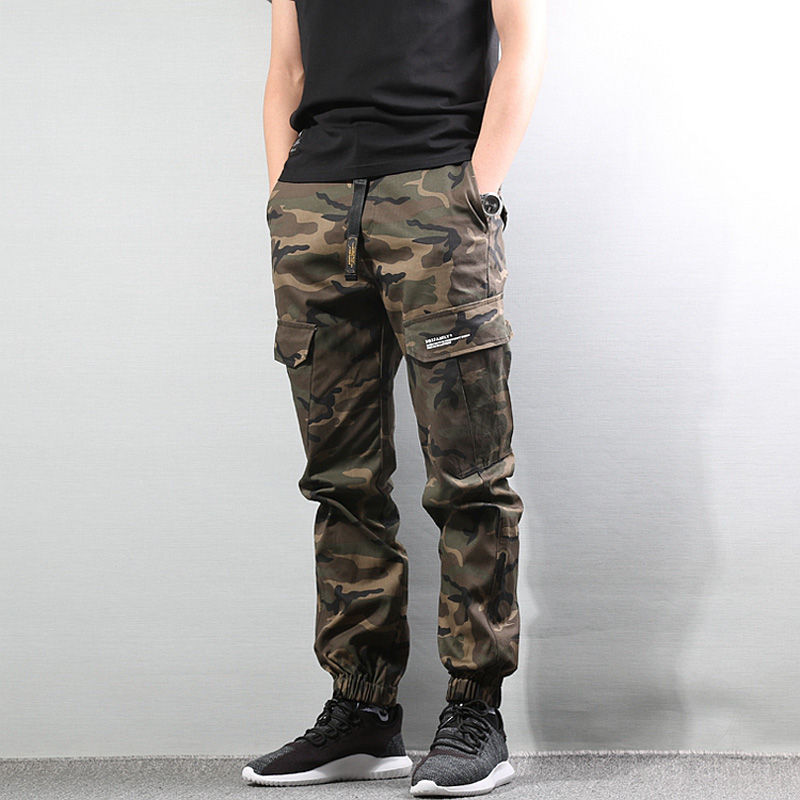 Fashion Camouflage Army Pants Loose Fit Black Color Casual Big Pocket Cargo Pants Men Jogger Jeans Punk Streetwear Hip Hop Pants
