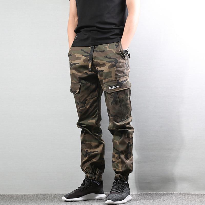 Fashion Camouflage Army Pants Loose Fit Black Color Casual Big Pocket Cargo Pants Men Jogger   Jeans   Punk Streetwear Hip Hop Pants