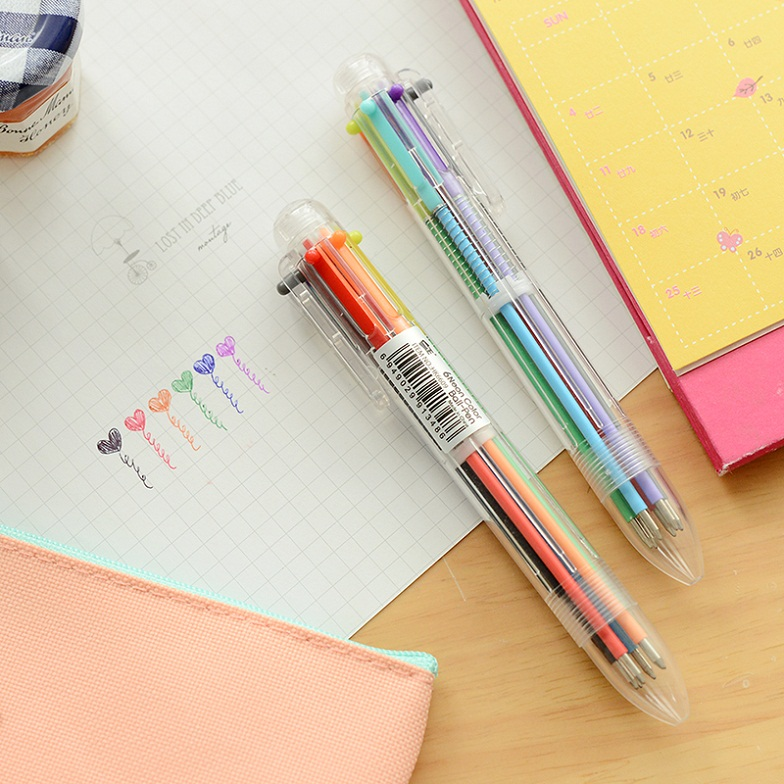 10PCS Six-Color Ballpoint Creative Stationery Cute Ballpoint Pen For Student