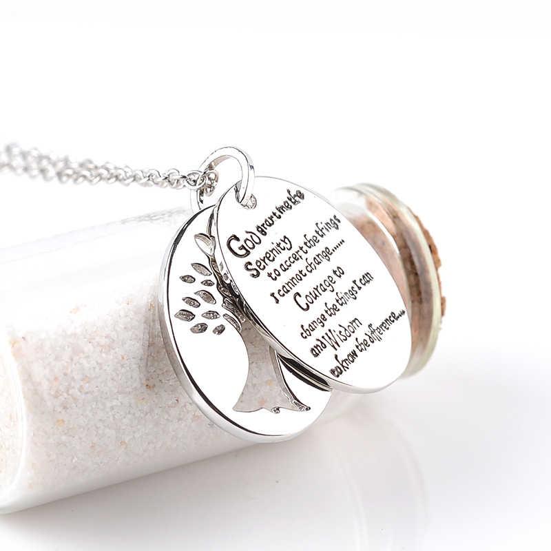 Hand Stamped พระคัมภีร์ภาษาอังกฤษ Serenity Prayer Charm จี้สร้อยคอผู้หญิงผู้ชาย Prayer เครื่องประดับ Tree Of Life สร้อยคอ Charms