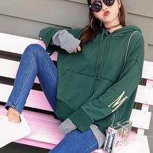 Women Sweatshirts Character Printed Pullovers Long Pieces Long Sleeve Loose Hoodie Females Sweatshirt Casual Tops Green Hooded цена 2017