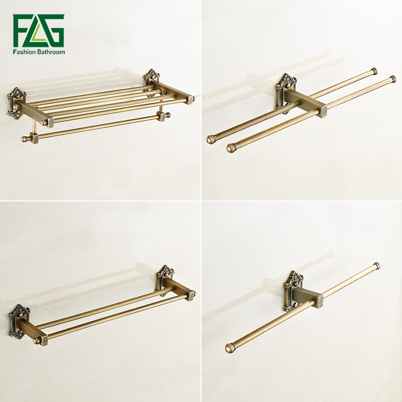 FLG Bathroom Shelves Antique Brass Towel Rack Holder Hangers Bathroom Accessories Towel Bar Wall Mounted G197-01A aluminum wall mounted square antique brass bath towel rack active bathroom towel holder double towel shelf bathroom accessories