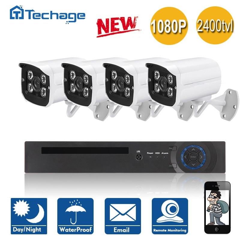 Techage 8CH 4CH 1080P HDMI Output DVR CCTV System 4PCS 2400TVL Outdoor Waterproof Home font b