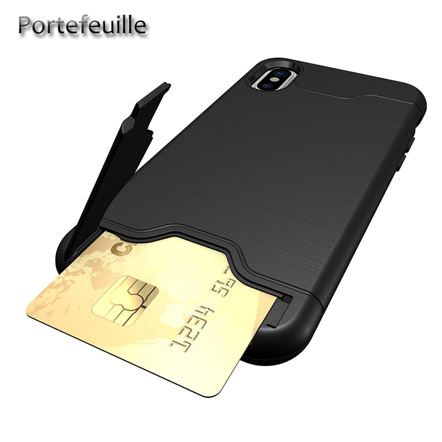 promo code 1e09d a8b02 US $3.54 29% OFF|Portefeuille For iPhone X Case Credit Card Holder Slot  Wallet Cases Kickstand Back Cover For iPhone 8 Plus 7 10 6 6S  Accessories-in ...
