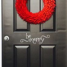 Christmas Wall Decal Be Merry Sticker Home Decoration Front Door Vinyl Decals Holiday Art Mural AY1487