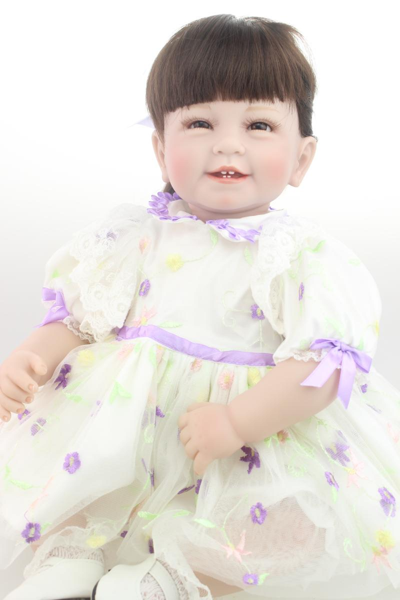 55cm Silicone Bebe Reborn Baby Dolls Simulation Sweet Smile Girl Long Hair Princess Alive Boneca Toys Children's Gift