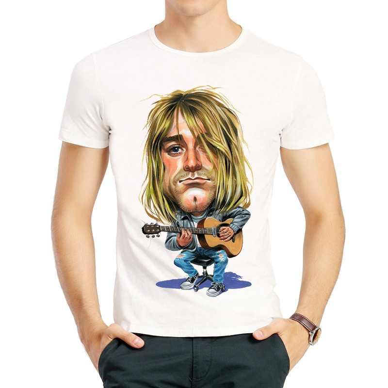 Kurt Cobain Футболка Мужская мода с коротким рукавом белый цвет мультфильм Курт Кобейн логотип футболка футболки футболка для мужчин женщин