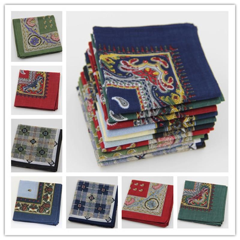 3Pieces/lot Vintage Cotton Handkerchiefs Unisex Print Handkerchiefs Men And Women 11Color 40*40cm