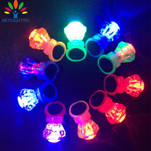60pcs/lot Plastic diamond led finger ring lights toys light up ring toys glow flashing ring party halloween decoration supplies