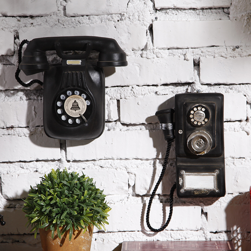 The American Home Furnishing Wall Hanging Retro Telephone Tea Shop Cafe  Resin Mural Old Decorations Home Decoration Accessories