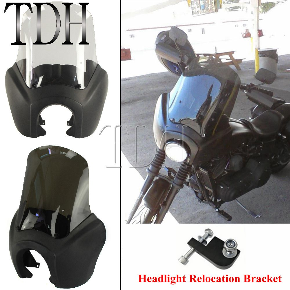 Black Headlight Fairing Windscreen Deflector Motorcycle Front Fairing Windshield For Harley Dyna Fat Bob FXR FXDXT