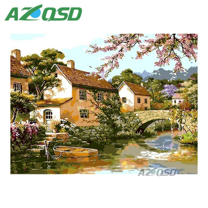 AZQSD Peaceful Water Town Painting By Numbers On Canvas 40x50cm Frameless Oil Painting Picture By Numbers Decor szyh6195