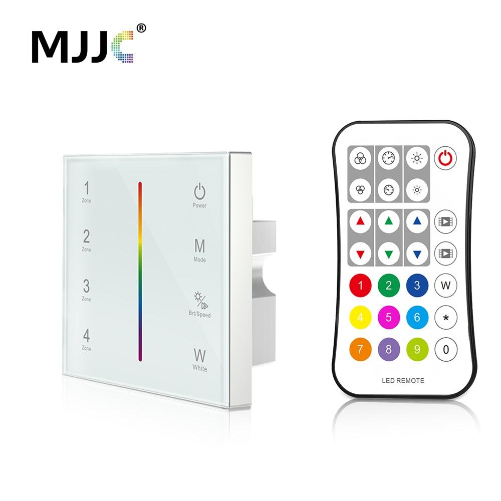 MJJC Controller DMX 512 4CH Zone RGBW DMX512 Master Control Wireless 2.4G RF Telecomando A Parete Regolatore del Pannello A Sfioramento T14-1
