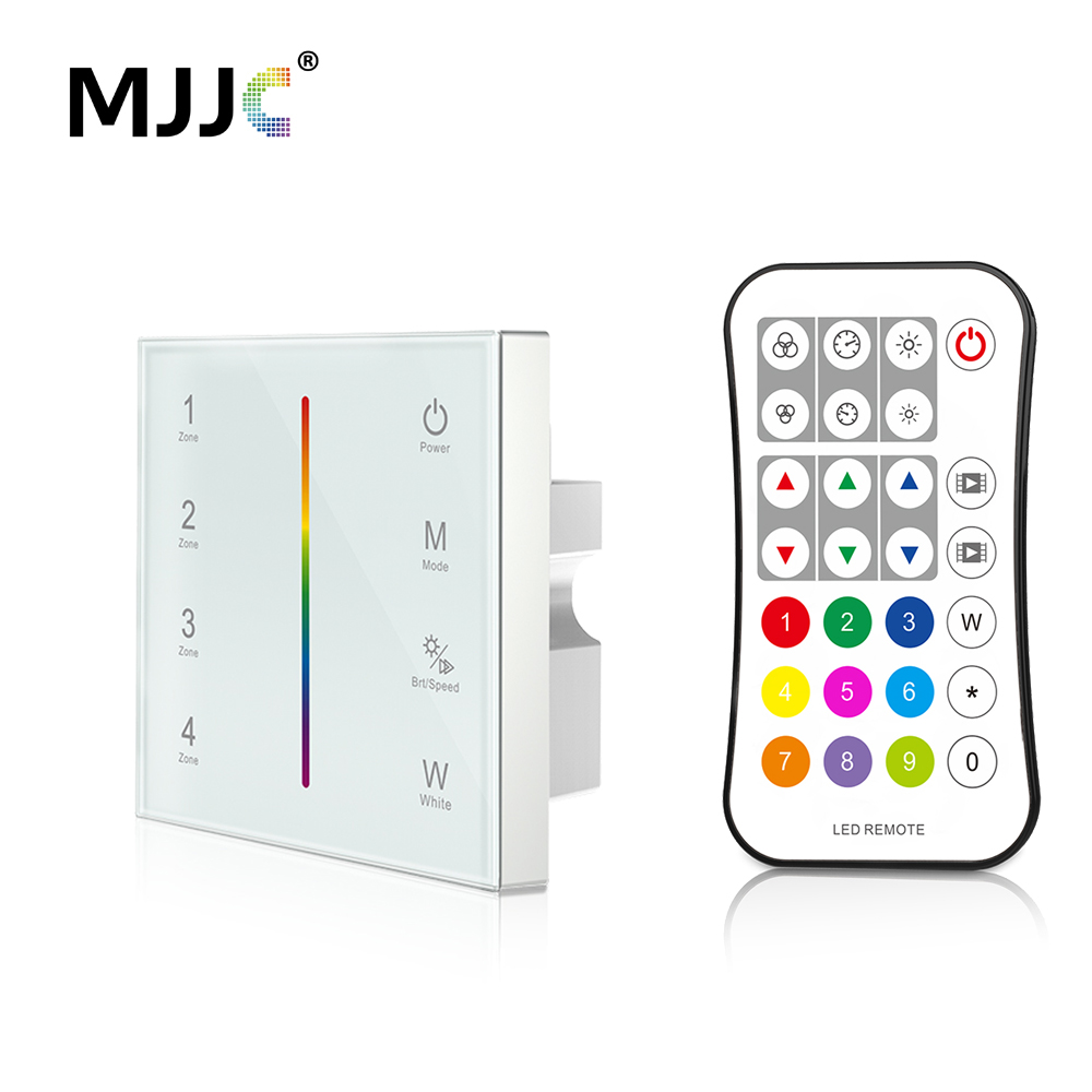 MJJC DMX Controller 512 4CH Zone RGBW DMX512 Master Control Wireless 2.4G RF Remote Wall Mounted Touch Panel Controller T14-1 tuda 24x49cm free shipping fashion creative table lamp resin rabbit shaped table lamp living room decoration modern table lamp