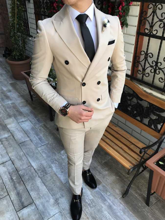 Double Breasted Groomsmen Beige Groom Tuxedos Peak Lapel Men Suits Best Man 2 Pieces Wedding Suit ( Jacket+Pants+Tie ) C620