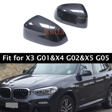 Pair 1:1 OEM Carbon Fiber Mirror Caps Replacement For BMW X3 Series G01 X4 G02 X5 G05 2018-2019 Door Side Cover