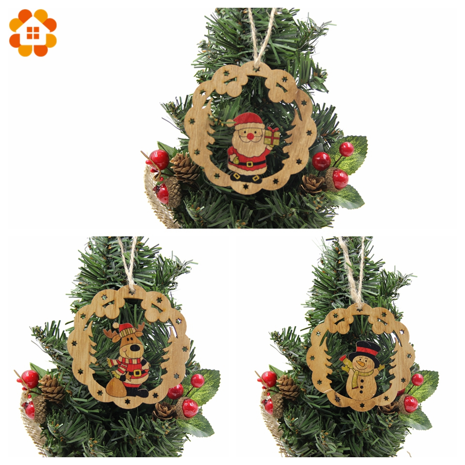 New 3pcs Creative Christmas Wooden Pendants Xmas Tree Ornaments Diy
