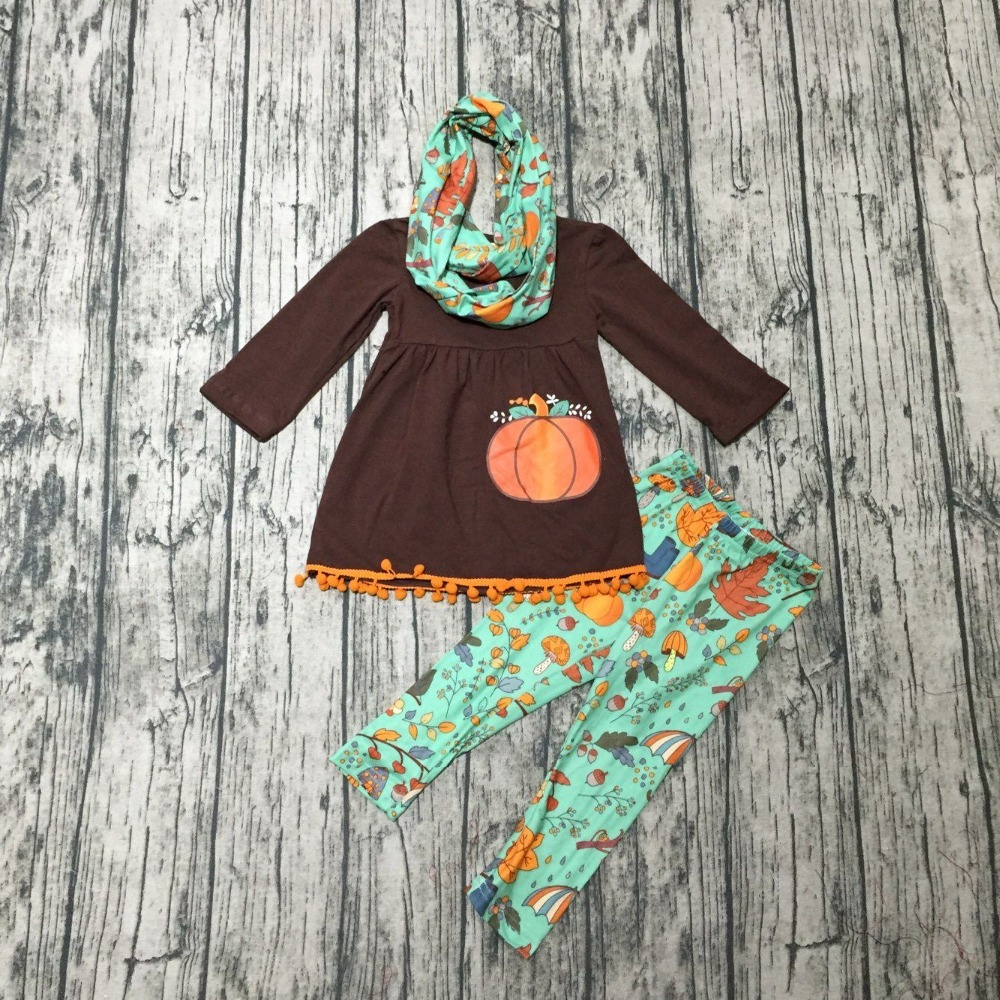 где купить new Fall/Winter outfits Thanksgiving clothes pumpkin 3 pieces scarf pom pom long sleeves boutique pant match accessories cotton по лучшей цене