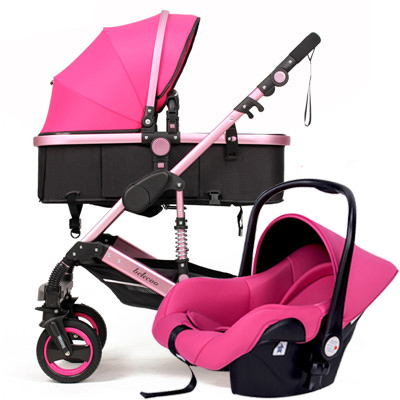 Babyfond 3-in-1 European High Landscape Baby Stroller newborn Can Sit And Lie On The Four Wheel Shock Absorber Baby Stroller the baby stroller of the aimile can sit on a bb cart in the four seasons of high landscape folding