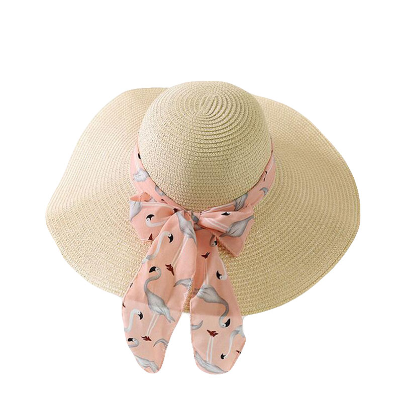 SUOGRY 2018 Elegant Women Summer Temperament Straw Hat Chiffon Ribbon Lace Up Beach Caps Fashion Ladies Panama Sun Hat in Women 39 s Sun Hats from Apparel Accessories