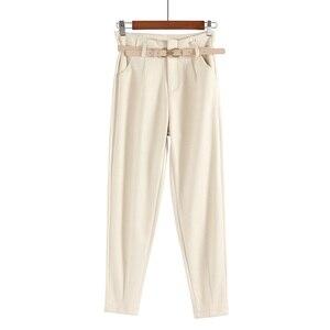 Image 4 - Korean Winter Wool Pants women New High Slim Waist Belted Harem Elegant Trousers Female Autumn Warm Womens Long Pants F201