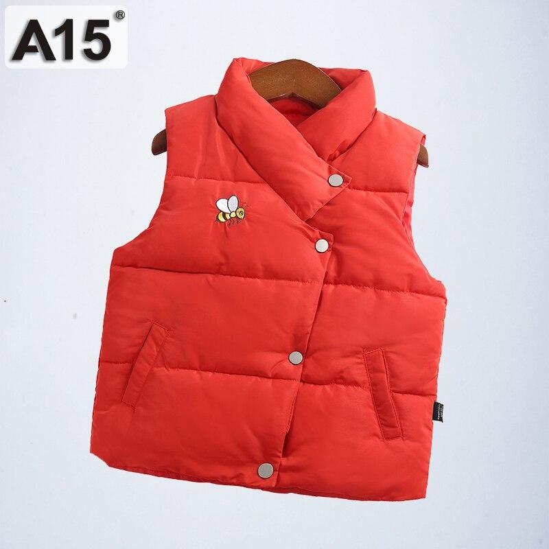 A15 Kinder Weste Kinder Junge Dicken Winter Baby Mädchen Weste Mantel Stehkragen Taste Padded Warm Ärmel Jacke 8 10 12 Jahr
