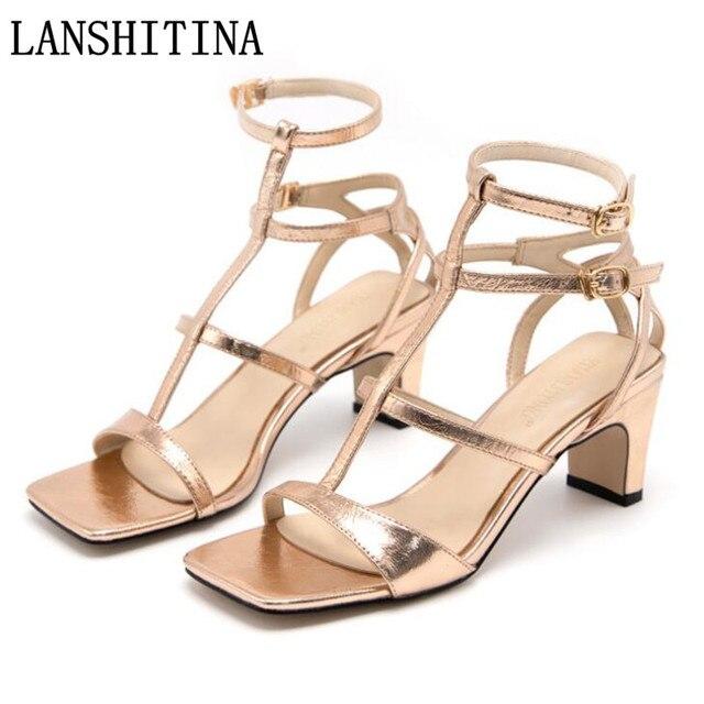 261674fc5cbd64 Platform Sandals Women Shoes Fashion 2018 Women Summer Shoes Open Toe Gold  Silver High Heel Women Sandals 6 CM